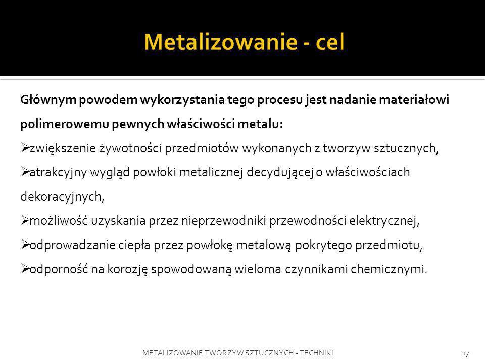 METALIZOWANIE TWORZYW SZTUCZNYCH - TECHNIKI17 Głównym powodem wykorzystania tego procesu jest nadanie materiałowi polimerowemu pewnych właściwości met