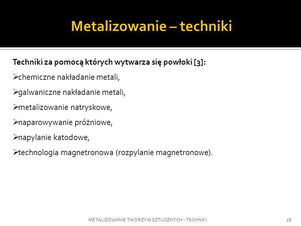 METALIZOWANIE TWORZYW SZTUCZNYCH - TECHNIKI18 Techniki za pomocą których wytwarza się powłoki [3]: chemiczne nakładanie metali, galwaniczne nakładanie