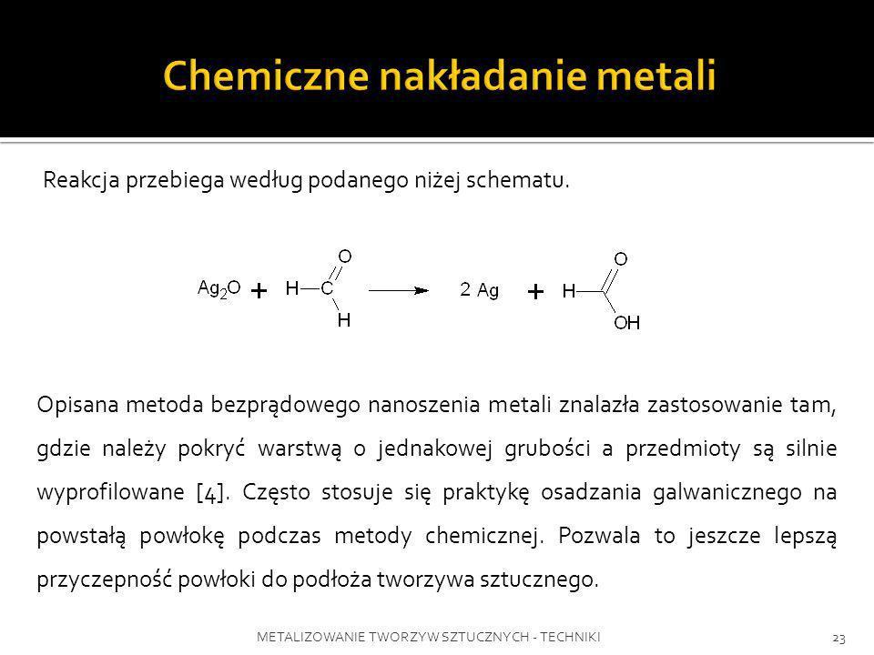 METALIZOWANIE TWORZYW SZTUCZNYCH - TECHNIKI23 Opisana metoda bezprądowego nanoszenia metali znalazła zastosowanie tam, gdzie należy pokryć warstwą o j