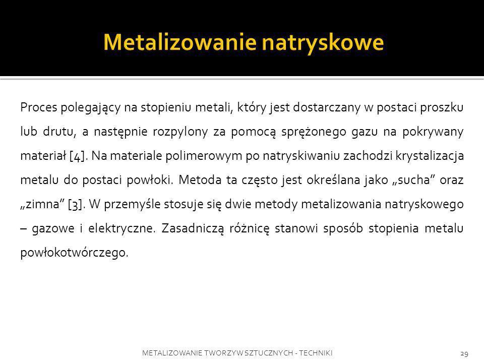 METALIZOWANIE TWORZYW SZTUCZNYCH - TECHNIKI29 Proces polegający na stopieniu metali, który jest dostarczany w postaci proszku lub drutu, a następnie r