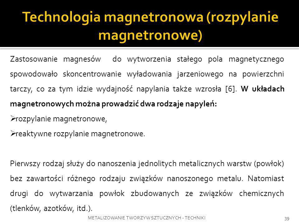 METALIZOWANIE TWORZYW SZTUCZNYCH - TECHNIKI39 Zastosowanie magnesów do wytworzenia stałego pola magnetycznego spowodowało skoncentrowanie wyładowania