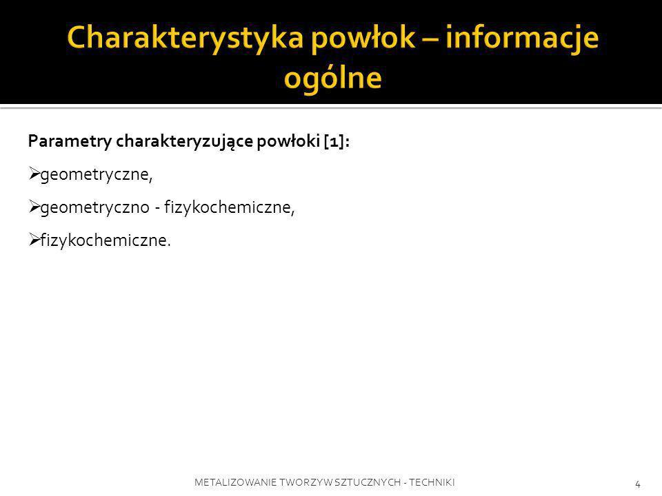 METALIZOWANIE TWORZYW SZTUCZNYCH - TECHNIKI4 Parametry charakteryzujące powłoki [1]: geometryczne, geometryczno - fizykochemiczne, fizykochemiczne.