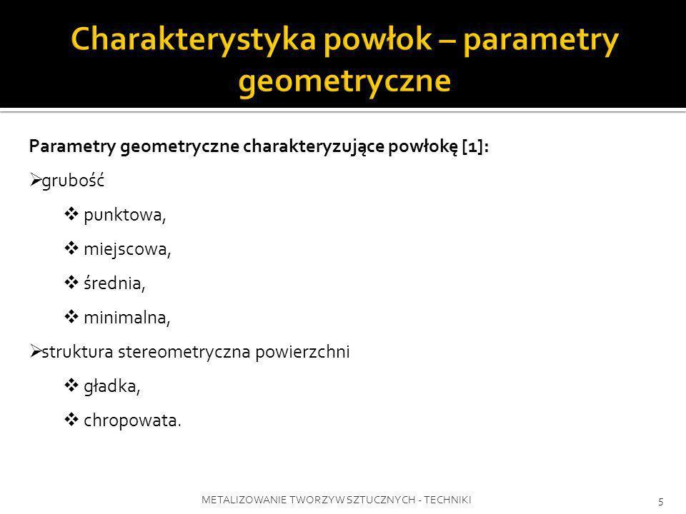 METALIZOWANIE TWORZYW SZTUCZNYCH - TECHNIKI5 Parametry geometryczne charakteryzujące powłokę [1]: grubość punktowa, miejscowa, średnia, minimalna, str