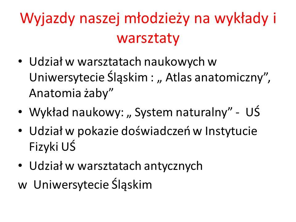 Wyjazdy naszej młodzieży na wykłady i warsztaty Udział w warsztatach naukowych w Uniwersytecie Śląskim : Atlas anatomiczny, Anatomia żaby Wykład nauko