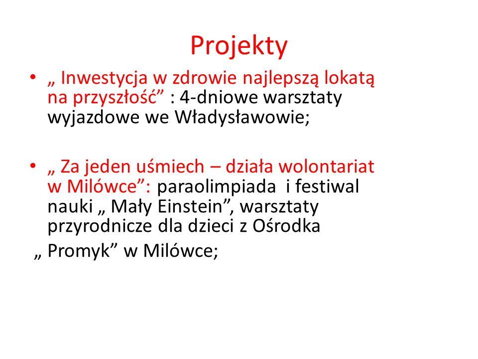 Projekty Inwestycja w zdrowie najlepszą lokatą na przyszłość : 4-dniowe warsztaty wyjazdowe we Władysławowie; Za jeden uśmiech – działa wolontariat w