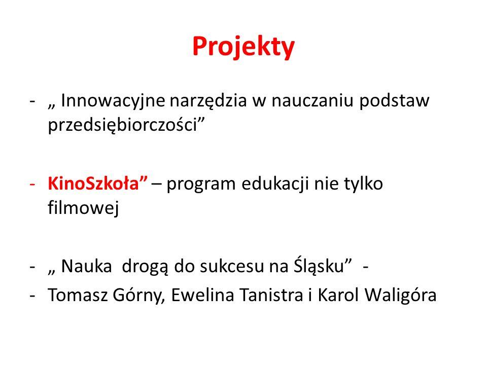 Projekty - Innowacyjne narzędzia w nauczaniu podstaw przedsiębiorczości -KinoSzkoła – program edukacji nie tylko filmowej - Nauka drogą do sukcesu na