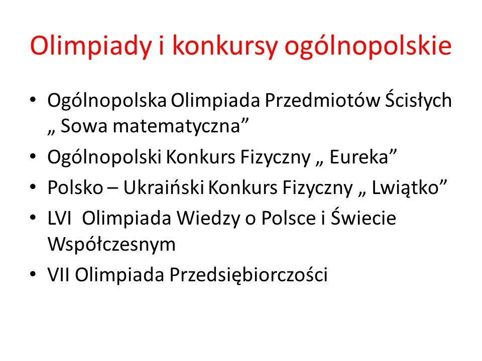Olimpiady i konkursy ogólnopolskie Ogólnopolska Olimpiada Przedmiotów Ścisłych Sowa matematyczna Ogólnopolski Konkurs Fizyczny Eureka Polsko – Ukraińs