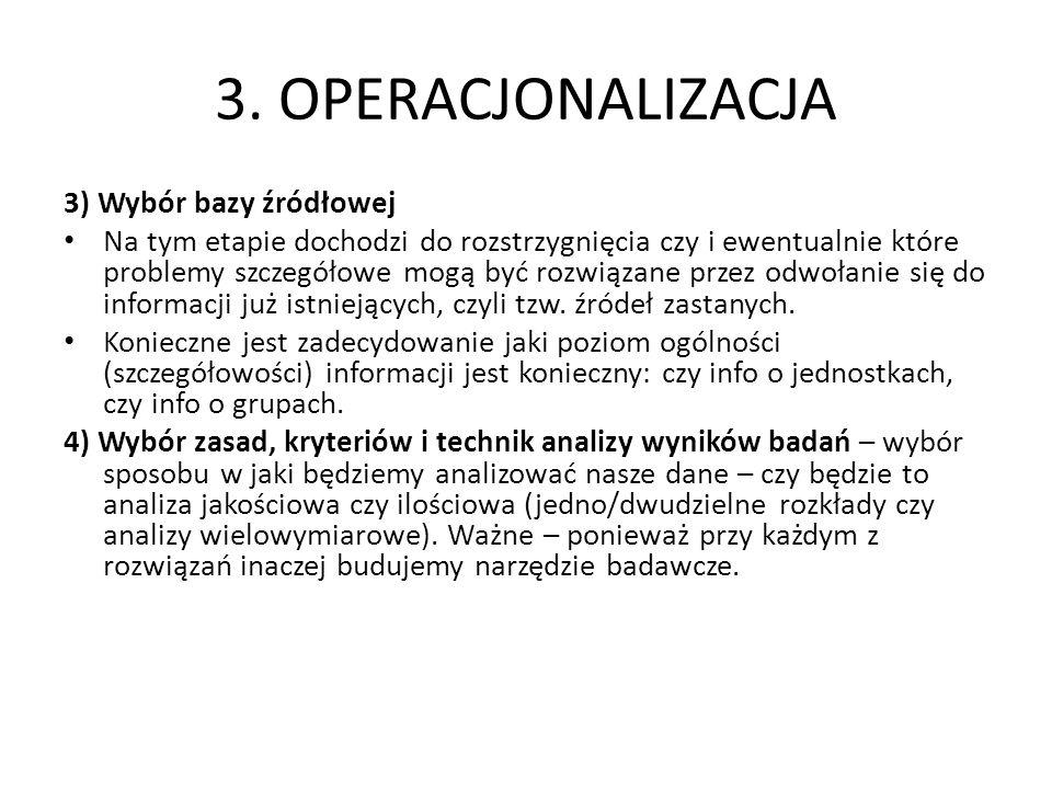 3. OPERACJONALIZACJA 3) Wybór bazy źródłowej Na tym etapie dochodzi do rozstrzygnięcia czy i ewentualnie które problemy szczegółowe mogą być rozwiązan