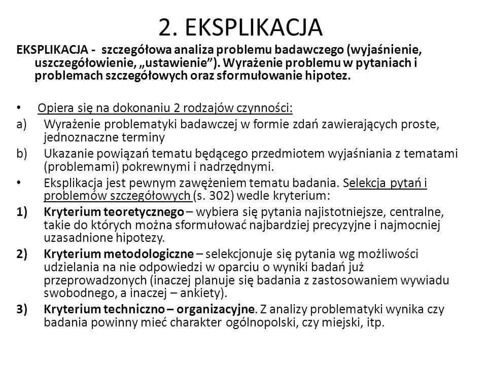 2. EKSPLIKACJA EKSPLIKACJA - szczegółowa analiza problemu badawczego (wyjaśnienie, uszczegółowienie, ustawienie). Wyrażenie problemu w pytaniach i pro