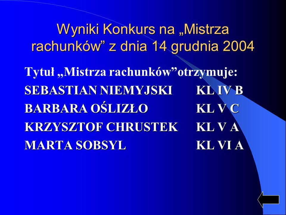 Wyniki Konkurs na Mistrza rachunków z dnia 14 grudnia 2004 Tytuł Mistrza rachunkówotrzymuje: SEBASTIAN NIEMYJSKI KL IV B BARBARA OŚLIZŁO KL V C KRZYSZ