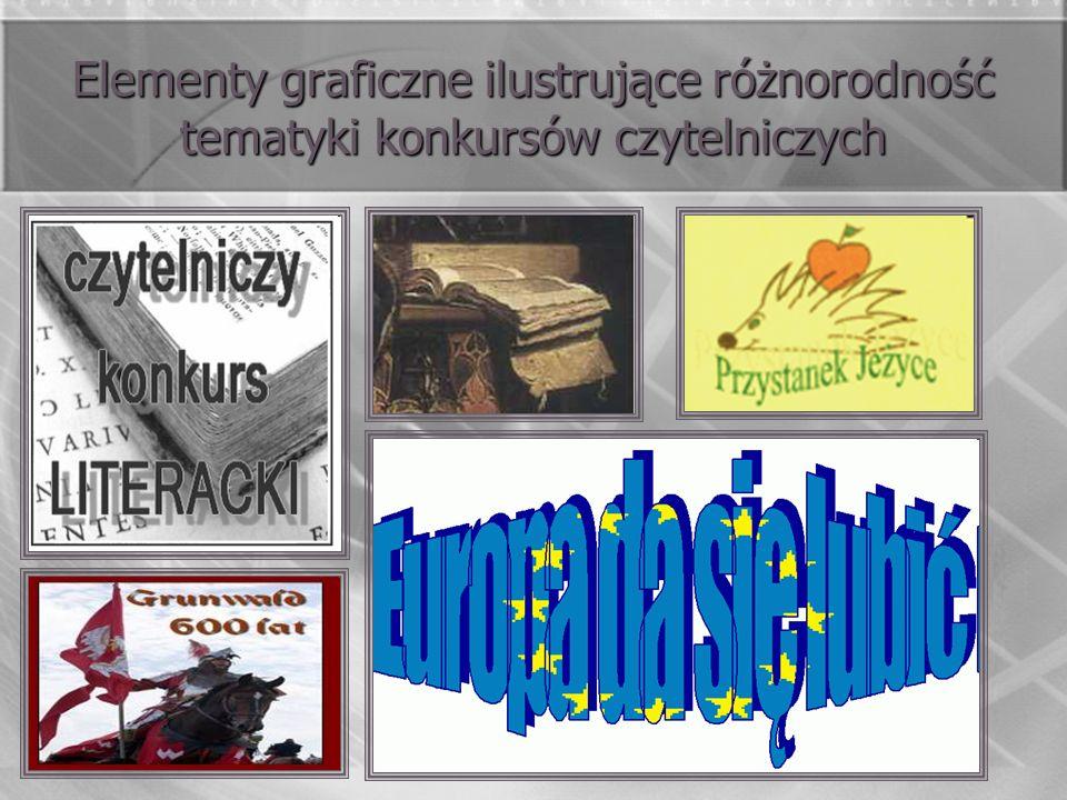 Elementy graficzne ilustrujące różnorodność tematyki konkursów czytelniczych