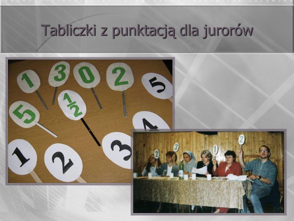 Tabliczki z punktacją dla jurorów