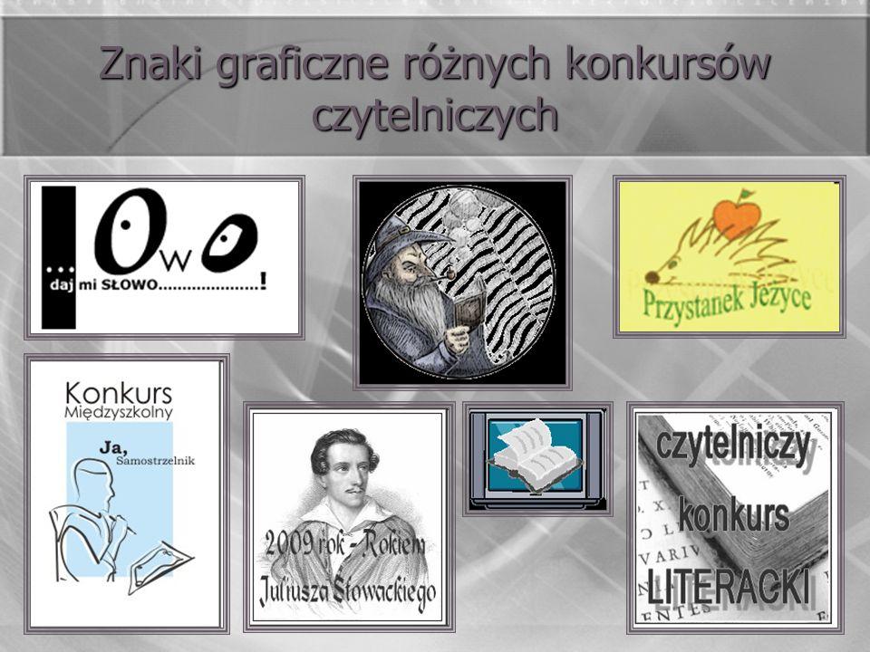 Znaki graficzne różnych konkursów czytelniczych