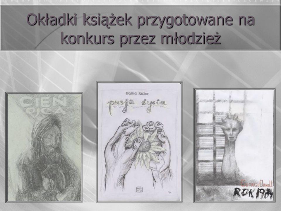 Okładki książek przygotowane na konkurs przez młodzież