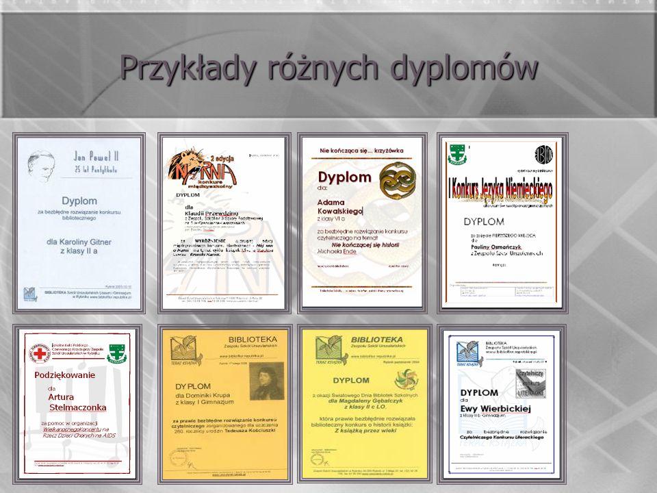 Przykłady różnych dyplomów