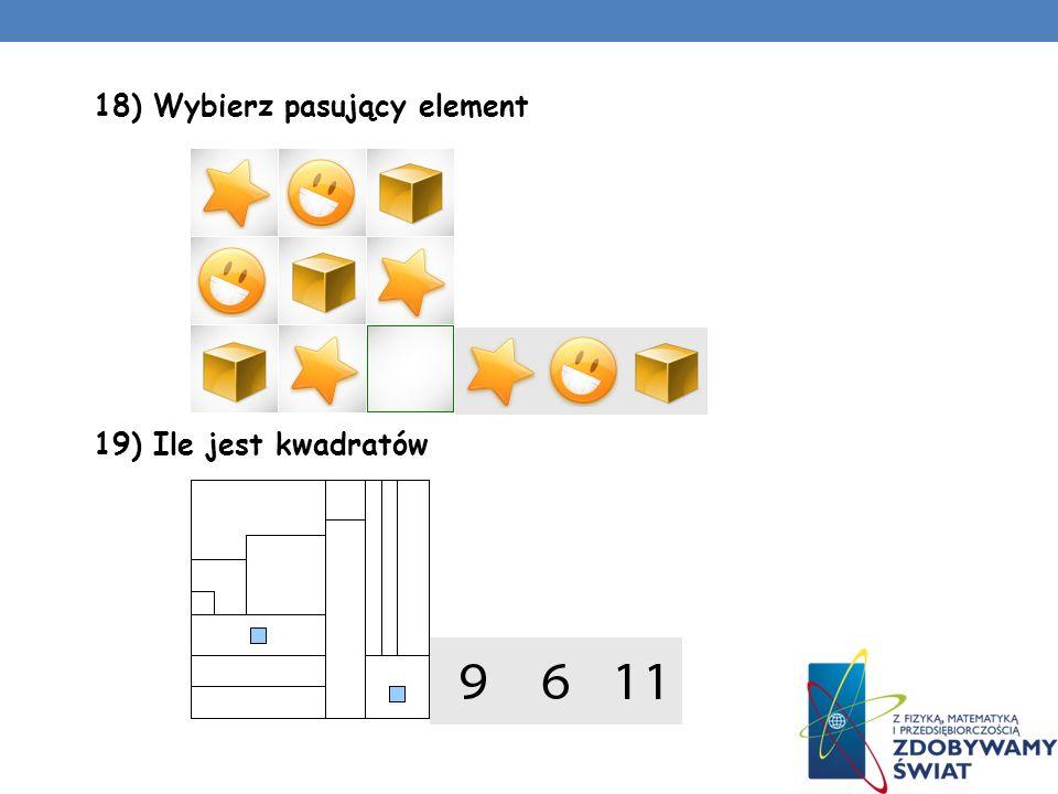 16) Wybierz pasujący element 17) Wybierz pasujący element