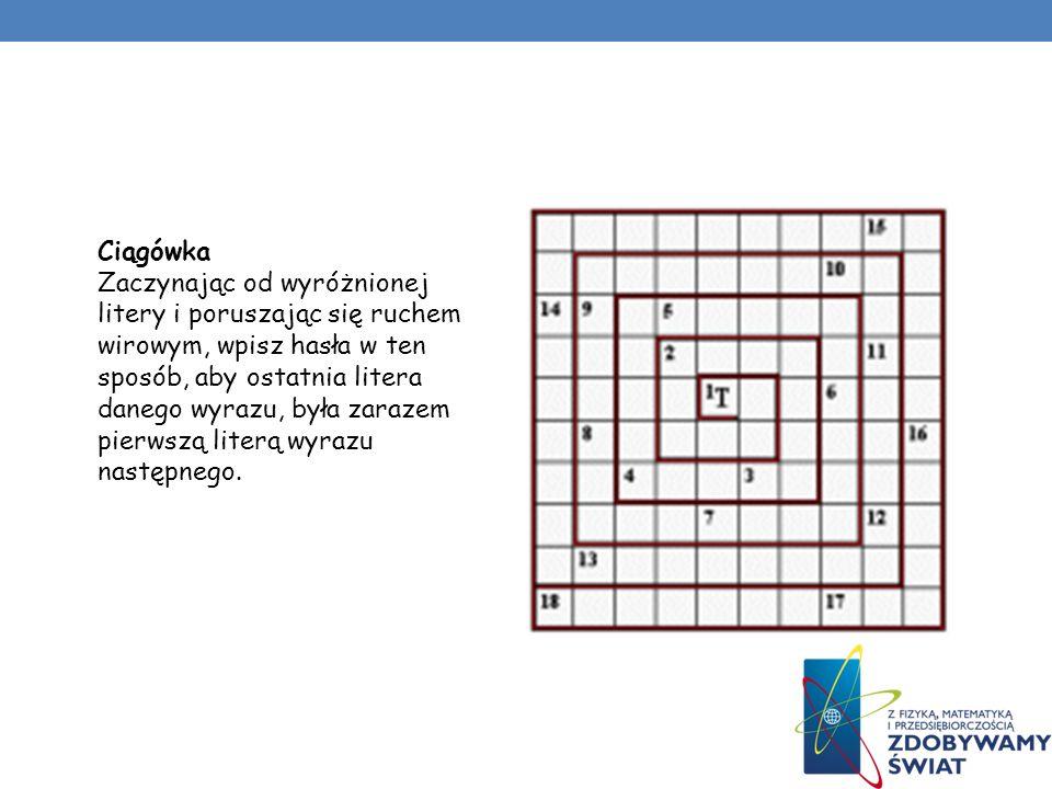 RODZAJE Wiro-krzyżówki Wiro-krzyżówki to środkowo- -symetryczne krzyżówki o wyrafinowanych kształtach. Wyrazy (wszystkie siedmioliterowe) wpisujemy za
