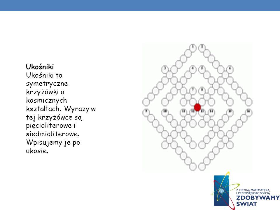 Czworaczki 4 symetryczne krzyżówki matematyczne. Litery w wyróżnionych kratkach, czytane po przekątnych (z góry na dół lub z dołu do góry) utworzą 4 j