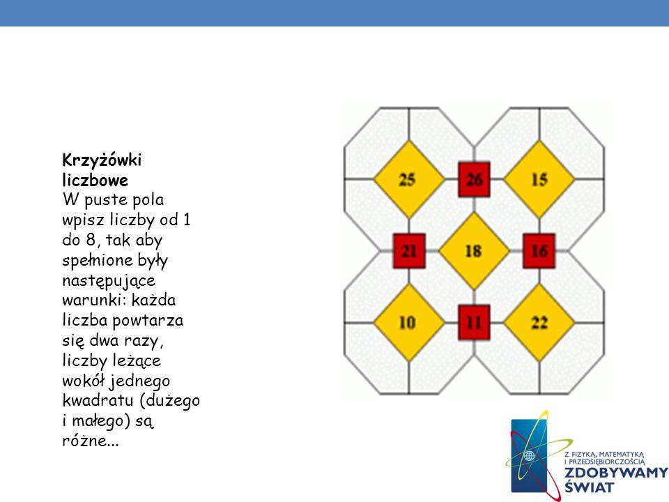 Ukośniki Ukośniki to symetryczne krzyżówki o kosmicznych kształtach. Wyrazy w tej krzyżówce są pięcioliterowe i siedmioliterowe. Wpisujemy je po ukosi