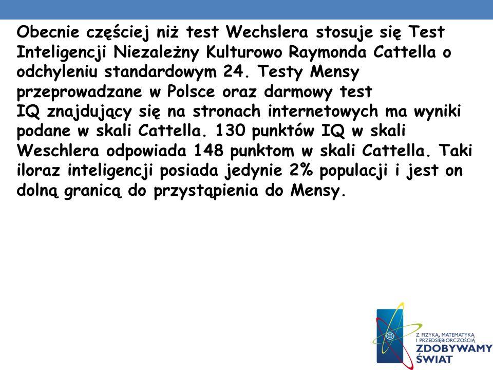 Testy inteligencji dla dorosłych wprowadził amerykański psycholog David Wechsler. Jego testy nie korzystały z koncepcji wieku umysłowego, tylko z rozk
