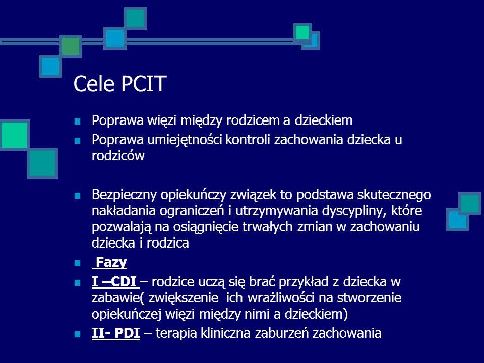 Cele PCIT Poprawa więzi między rodzicem a dzieckiem Poprawa umiejętności kontroli zachowania dziecka u rodziców Bezpieczny opiekuńczy związek to podst