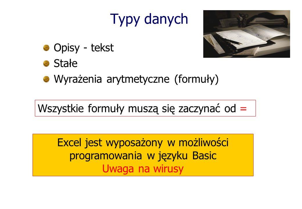 Typy danych Wszystkie formuły muszą się zaczynać od = Opisy - tekst Stałe Wyrażenia arytmetyczne (formuły) Excel jest wyposażony w możliwości programowania w języku Basic Uwaga na wirusy