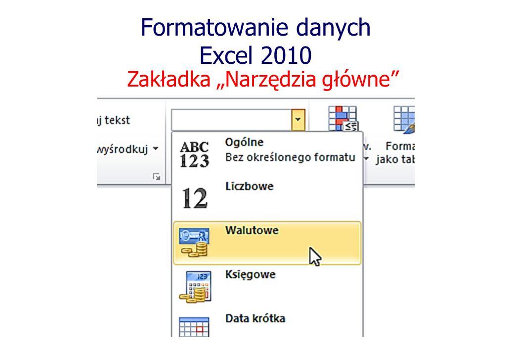 Formatowanie danych Excel 2010 Zakładka Narzędzia główne