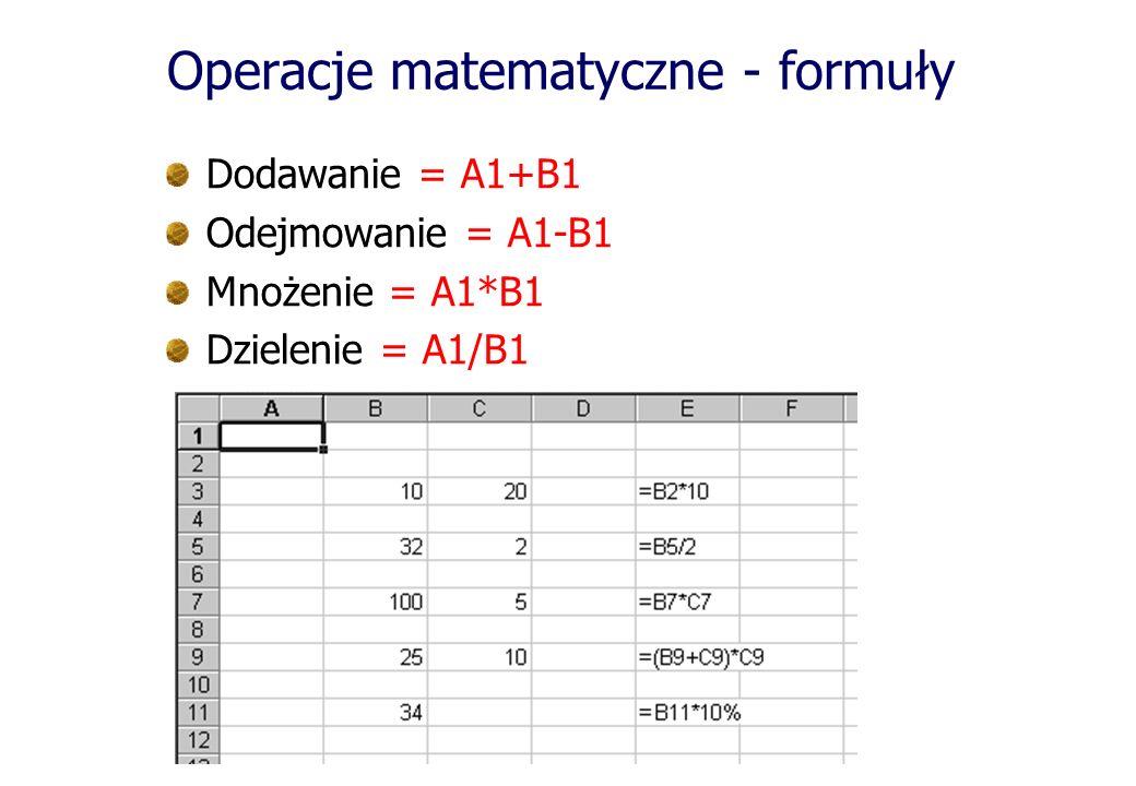 Operacje matematyczne - formuły Dodawanie = A1+B1 Odejmowanie = A1-B1 Mnożenie = A1*B1 Dzielenie = A1/B1