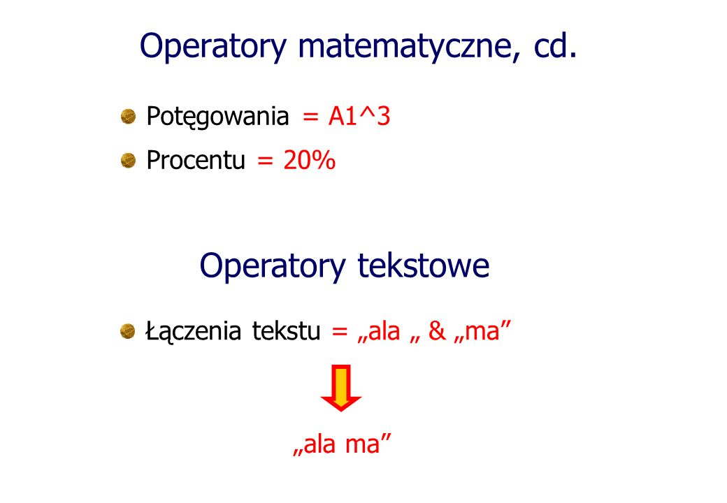 Operatory matematyczne, cd.