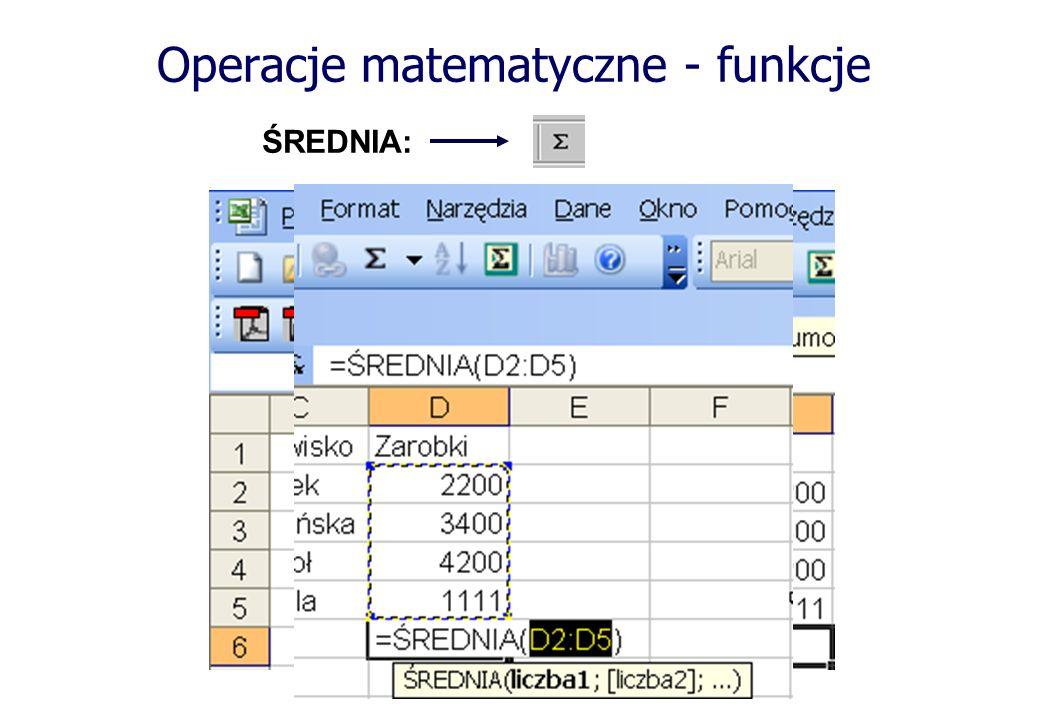Operacje matematyczne - funkcje ŚREDNIA: