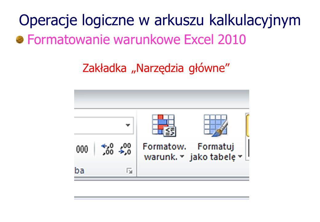 Operacje logiczne w arkuszu kalkulacyjnym Formatowanie warunkowe Excel 2010 Zakładka Narzędzia główne