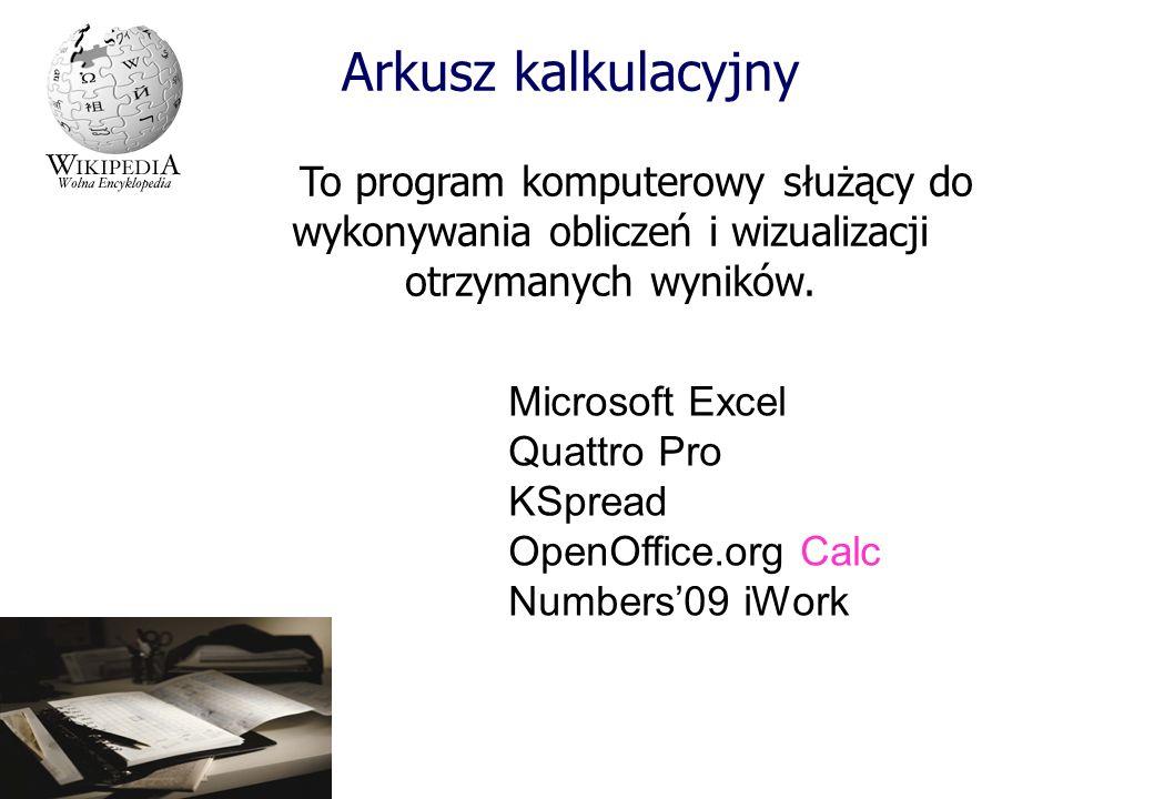 Arkusz kalkulacyjny To program komputerowy służący do wykonywania obliczeń i wizualizacji otrzymanych wyników. Microsoft Excel Quattro Pro KSpread Ope