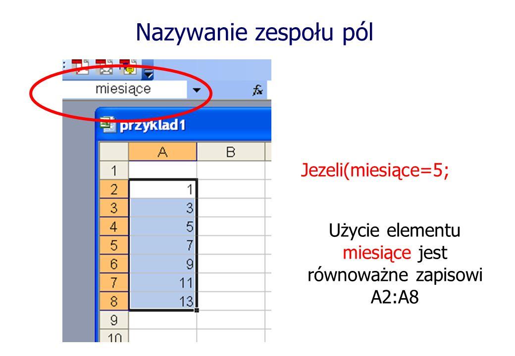 Jezeli(miesiące=5; Użycie elementu miesiące jest równoważne zapisowi A2:A8