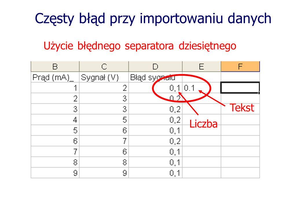 Częsty błąd przy importowaniu danych Użycie błędnego separatora dziesiętnego Liczba Tekst