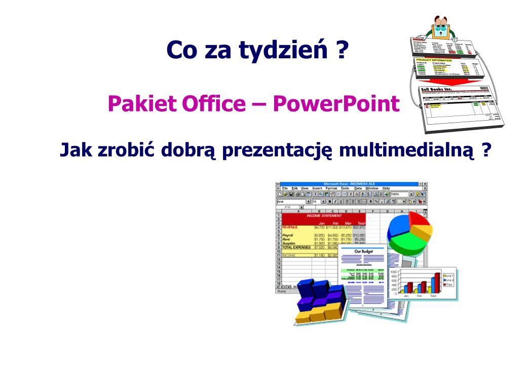 Co za tydzień ? Pakiet Office – PowerPoint Jak zrobić dobrą prezentację multimedialną ?