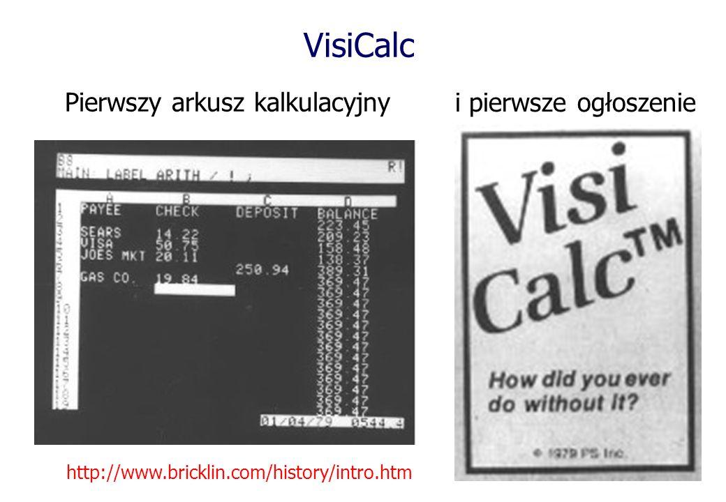 VisiCalc Pierwszy arkusz kalkulacyjny http://www.bricklin.com/history/intro.htm i pierwsze ogłoszenie