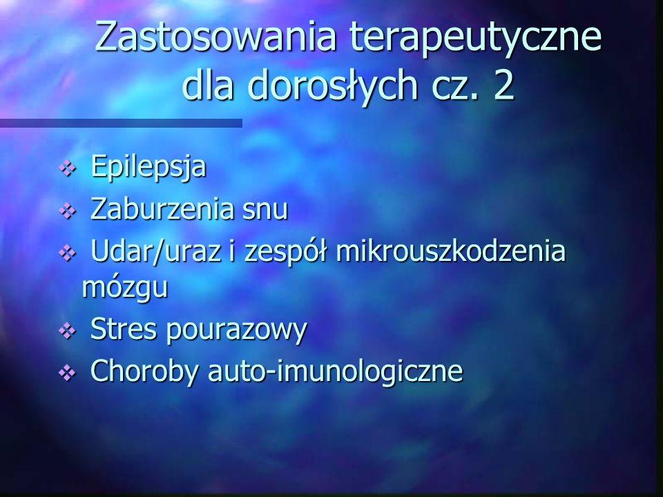 Zastosowania terapeutyczne dla dorosłych cz. 2 Epilepsja Epilepsja Zaburzenia snu Zaburzenia snu Udar/uraz i zespół mikrouszkodzenia mózgu Udar/uraz i