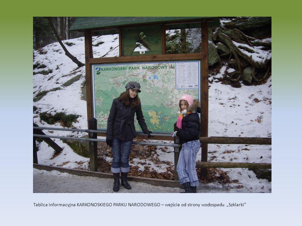 Tablica informacyjna KARKONOSKIEGO PARKU NARODOWEGO – wejście od strony wodospadu Szklarki