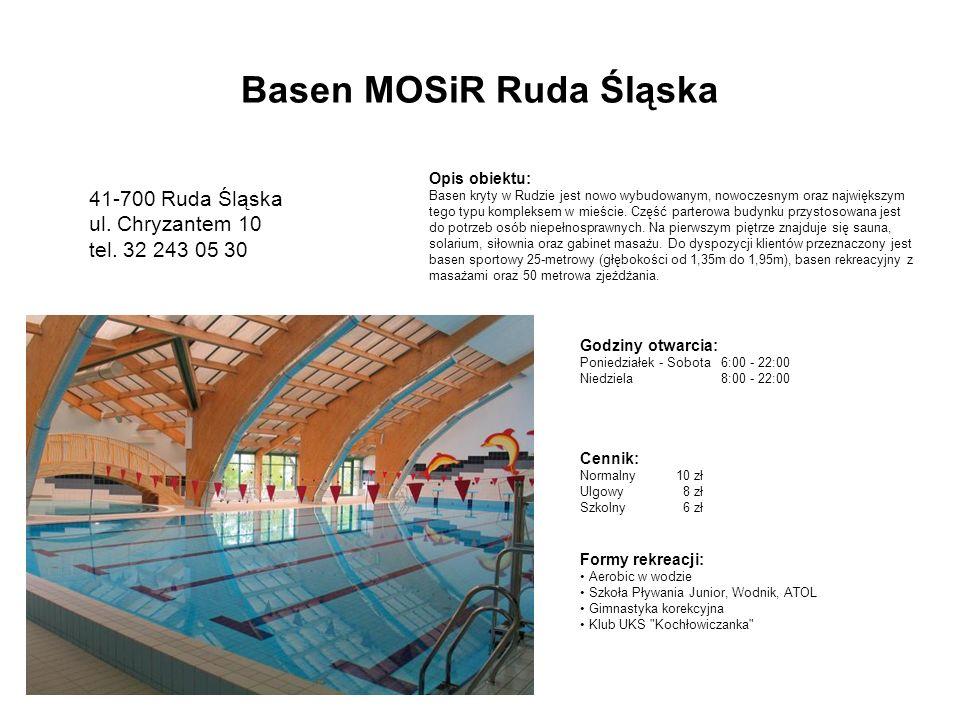 Godziny otwarcia: Poniedziałek - Sobota6:00 - 22:00 Niedziela8:00 - 22:00 Opis obiektu: Basen kryty w Rudzie jest nowo wybudowanym, nowoczesnym oraz największym tego typu kompleksem w mieście.