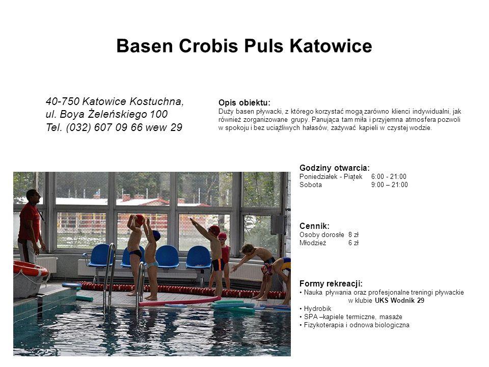 Godziny otwarcia: Poniedziałek - Piątek6:00 - 21:00 Sobota 9:00 – 21:00 Opis obiektu: Duży basen pływacki, z którego korzystać mogą zarówno klienci indywidualni, jak również zorganizowane grupy.