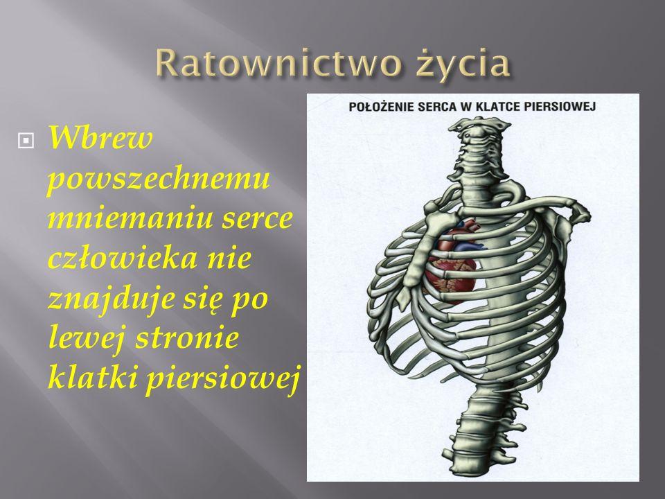 Wbrew powszechnemu mniemaniu serce człowieka nie znajduje się po lewej stronie klatki piersiowej