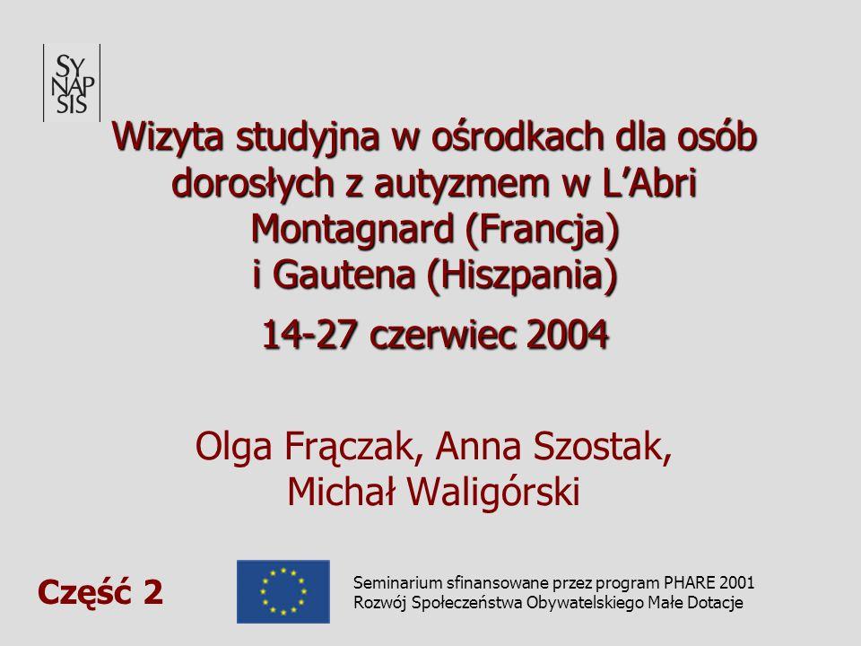 Wizyta studyjna w ośrodkach dla osób dorosłych z autyzmem w LAbri Montagnard (Francja) i Gautena (Hiszpania) 14-27 czerwiec 2004 Wizyta studyjna w ośrodkach dla osób dorosłych z autyzmem w LAbri Montagnard (Francja) i Gautena (Hiszpania) 14-27 czerwiec 2004 Olga Frączak, Anna Szostak, Michał Waligórski Seminarium sfinansowane przez program PHARE 2001 Rozwój Społeczeństwa Obywatelskiego Małe Dotacje Część 2