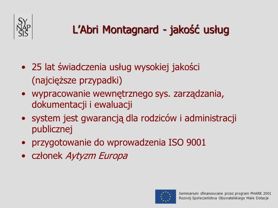 LAbri Montagnard - jakość usług 25 lat świadczenia usług wysokiej jakości (najcięższe przypadki) wypracowanie wewnętrznego sys. zarządzania, dokumenta