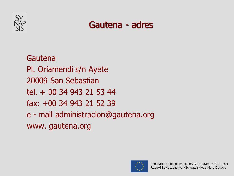 Gautena - adres Gautena Pl. Oriamendi s/n Ayete 20009 San Sebastian tel.