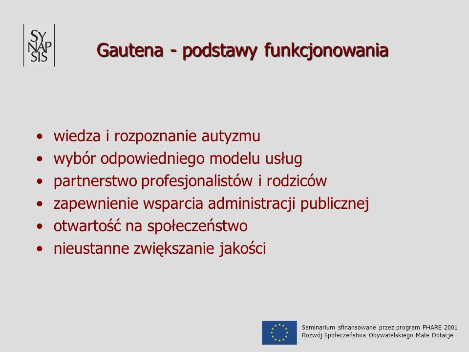 Gautena - podstawy funkcjonowania wiedza i rozpoznanie autyzmu wybór odpowiedniego modelu usług partnerstwo profesjonalistów i rodziców zapewnienie wsparcia administracji publicznej otwartość na społeczeństwo nieustanne zwiększanie jakości Seminarium sfinansowane przez program PHARE 2001 Rozwój Społeczeństwa Obywatelskiego Małe Dotacje