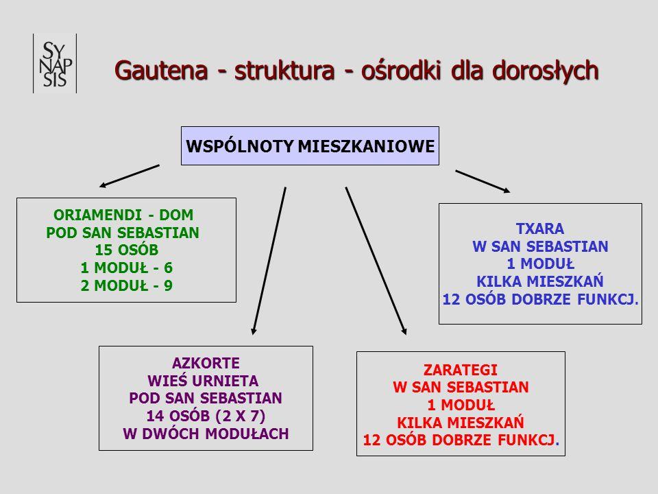 Gautena - struktura - ośrodki dla dorosłych WSPÓLNOTY MIESZKANIOWE TXARA W SAN SEBASTIAN 1 MODUŁ KILKA MIESZKAŃ 12 OSÓB DOBRZE FUNKCJ. AZKORTE WIEŚ UR