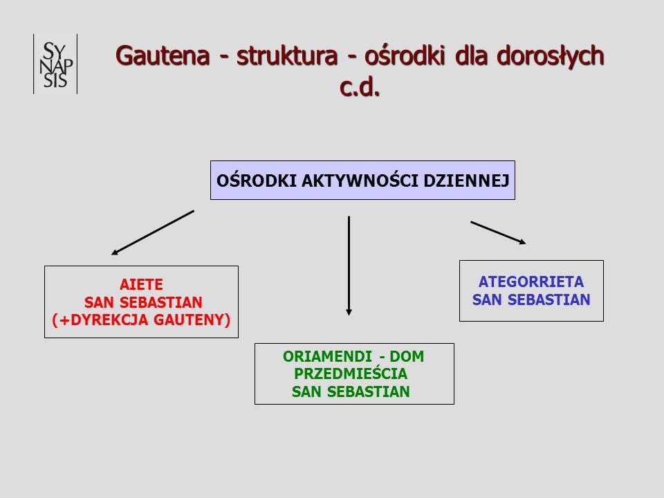 Gautena - struktura - ośrodki dla dorosłych c.d. OŚRODKI AKTYWNOŚCI DZIENNEJ ATEGORRIETA SAN SEBASTIAN ORIAMENDI - DOM PRZEDMIEŚCIA SAN SEBASTIAN AIET