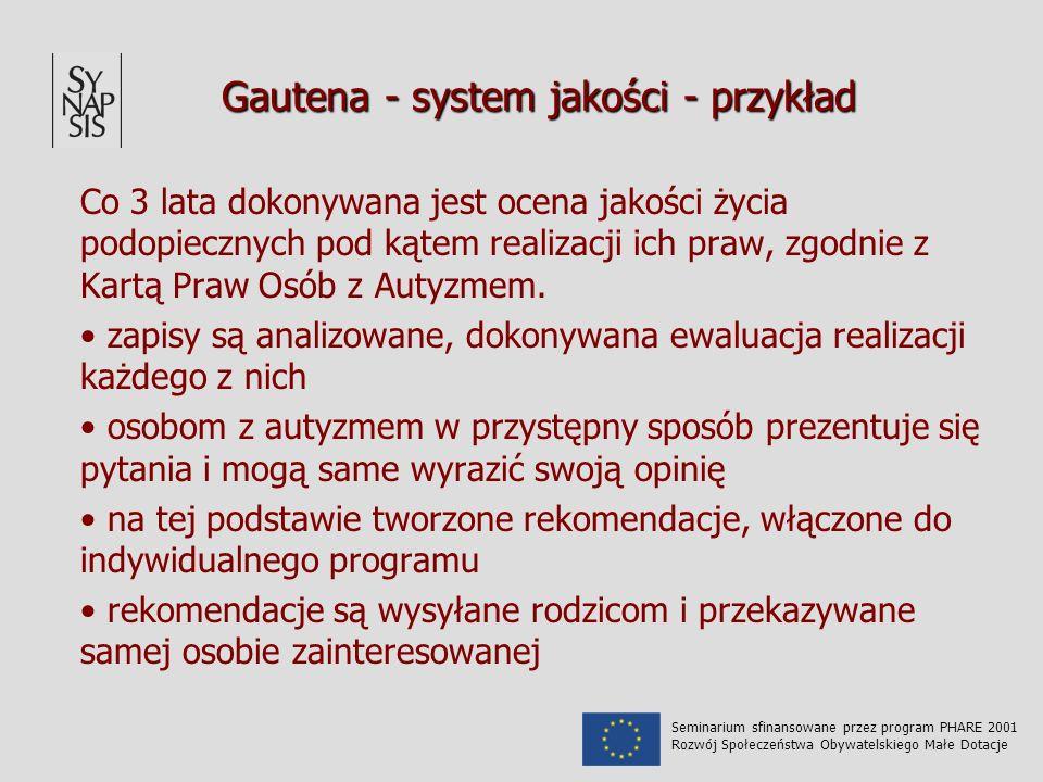 Gautena - system jakości - przykład Co 3 lata dokonywana jest ocena jakości życia podopiecznych pod kątem realizacji ich praw, zgodnie z Kartą Praw Osób z Autyzmem.