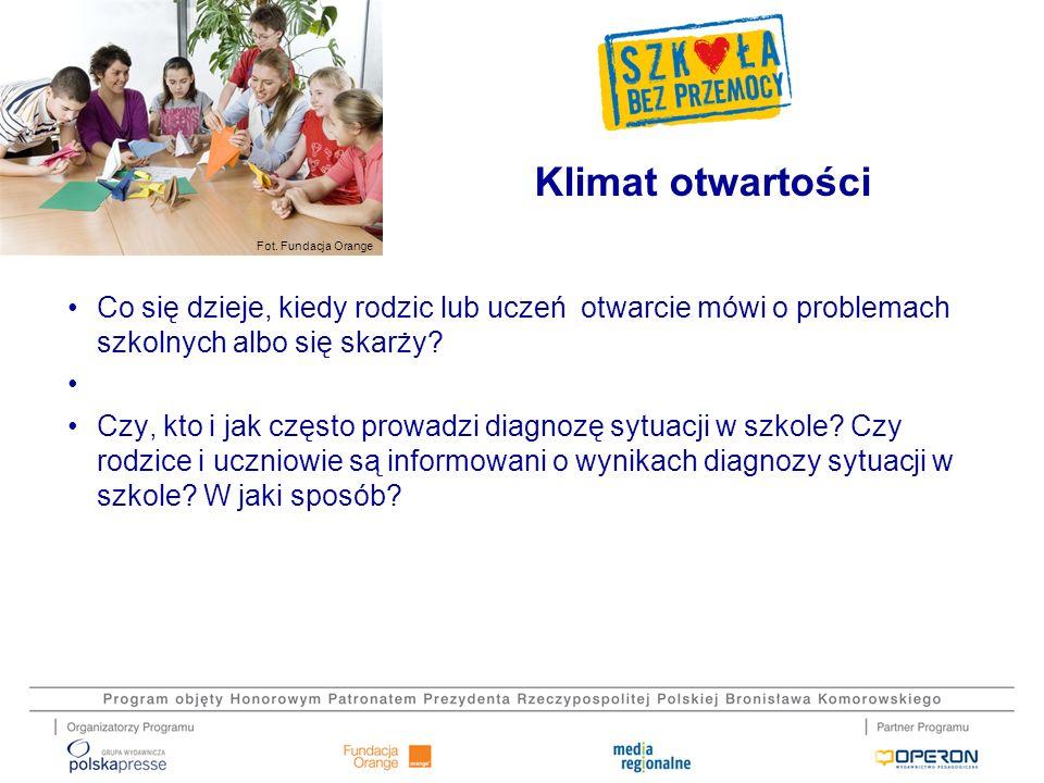 Fot. Fundacja Orange Co się dzieje, kiedy rodzic lub uczeń otwarcie mówi o problemach szkolnych albo się skarży? Czy, kto i jak często prowadzi diagno
