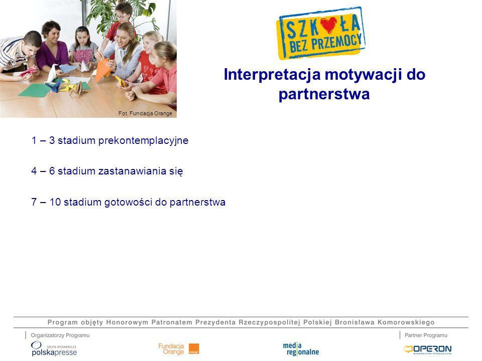 Fot. Fundacja Orange 1 – 3 stadium prekontemplacyjne 4 – 6 stadium zastanawiania się 7 – 10 stadium gotowości do partnerstwa Interpretacja motywacji d